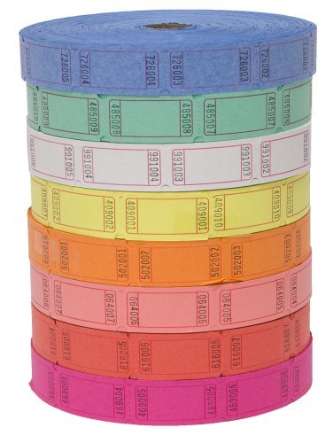 (4 Rolls of 2000 Tickets) 8,000 Total Blank Raffle Tickets (4 Assorted Colors)]()