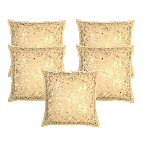 Stylo Culture Indian Decorative Sofa Pillow Covers 16x16 Set of 5 Beige Embroidered Cotton Bedroom Cushion Covers Mirrored 40x40 cm Pillow Cases
