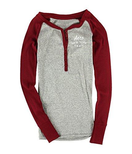 ibbed Logo Henley Shirt Red M - Juniors ()