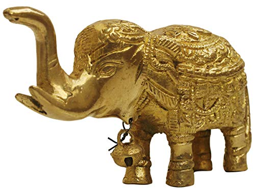 Crafkart Best Buy Trunk-Up Baby Elephant Figurines Statue with Bell on Neck- Decorative Elephant Brass Sculpture - Deals on ()
