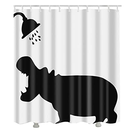 Amazon Urijk Hippo Shower Curtain Waterproof Polyester Fabric