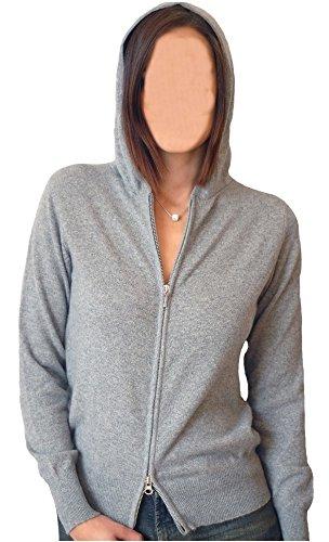 Balldiri 100% Cashmere Kaschmir Damen Strickjacke Hoody Sweater Kapuze 2-fädig grau L
