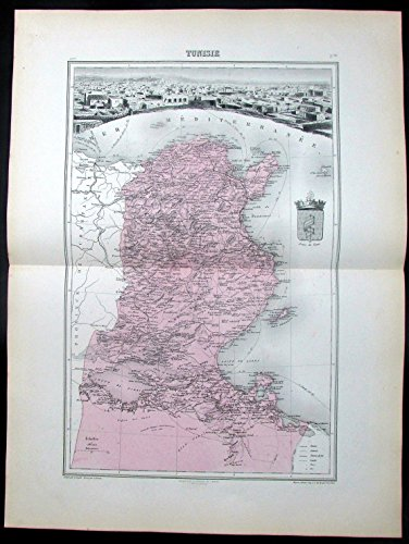 Tunisia Tunis North Africa France colony c.1880 antique map w/ Tunis city view