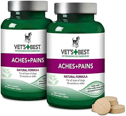 Vet's Best Aspirin Free Aches + Pains Dog Supplement | Vet Formulated for Dog Pain Support and Joint Relief (100 ct (2 Pack))