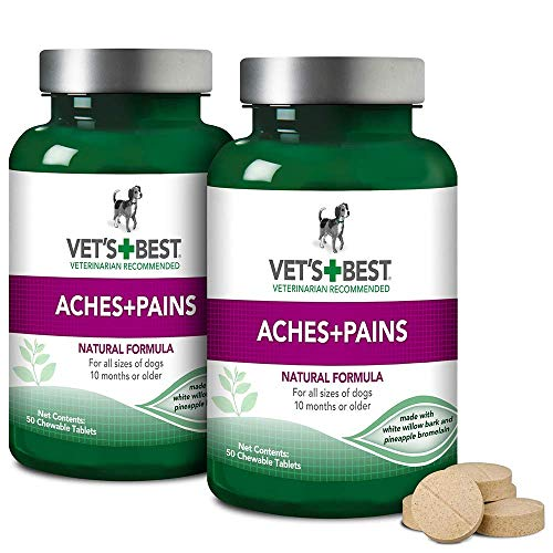 Vet's Best Aspirin Free Aches and Pains Dog Supplement | Vet Formulated for Dog Pain Support and Joint Relief | 50 Chewable Tablets, 2 Pack ()