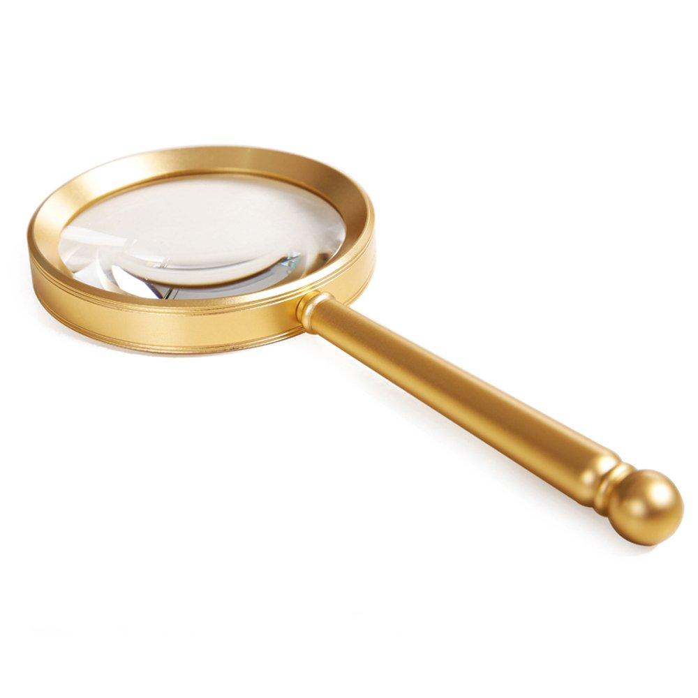 Portátil lupa portátil portátil lupa mango de metal oro 8X / 10X-mejor tamaño Jumbo iluminado lupa de lectura para el examen de campo, identificación de joyas, fabricación de la impresión, lectura de ancianos, anti bb4aa9
