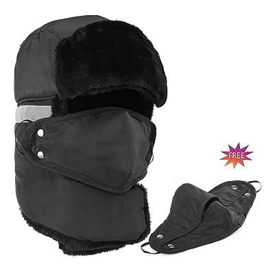 82861efb5b2 Winter Bomber Trapper Hats Ushanka - Men Women Russian Trooper Ear Flaps  Hunting Face Masks Ski