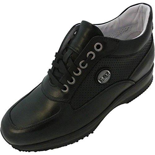 EXTON Zapatillas de Piel Para Hombre Negro Negro