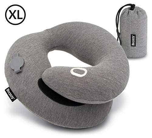 BCOZZY Inflatable Chin Supporting Travel Neck Pillow for Comfortable Sleep on Airplanes and in Road