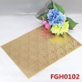 WWQY Flower Pattern Leather Without Washing Placemat Dining Table / Wedding Banquet Dinner / Table Decoration / Weddings , golden