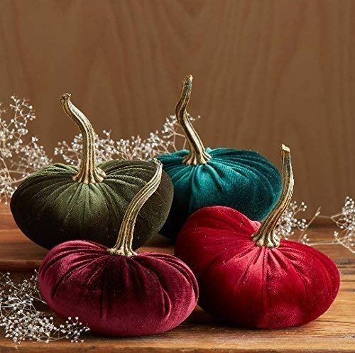 (Velvet Pumpkins, SET of 4: Burgundy, Ruby, Olive, Emerald; Home Decor, Holiday Mantle Decor, Centerpiece, Fall, Halloween, Thanksgiving)