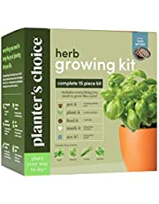 Herb Garden Growing Kit + Herb Grinder - Complete Kitchen Gardening Kit to Easily Grow 4 Culinary Herbs from Seed (Basil, Cilantro, Chives, Parsley) + Comprehensive Guide - Unique Gift for Women & Men