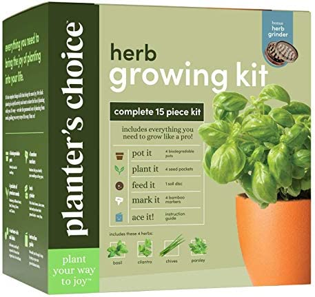 Planters' Choice Herb Growing Kit + Herb Grinder - Complete Kit to Easily Grow 4 Herbs from Seed (Basil, Cilantro, Chives & Parsley) with Comprehensive Guide - Unique Gift (Herbs)