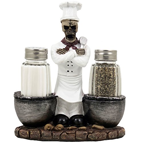 Spooky Skeleton Chef Glass Salt and Pepper Shaker Set with Cauldrons & Skulls Decorative Display Holder Figurine for Halloween Decorations As Kitchen Table Decor or Scary Gothic Gifts