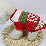 Christmas Pet Dog Puppy Clothes, AMA(TM) Small Dog Deer Print Cotton Vest T-shirt Doggie Apparel Costume (S, Red)