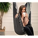 Mauv Macrame Hanging Chair - Bohemian Hammock - Outdoor/Indoor Swing - Sturdy - Boho Decor - Personal Pocket - Cushions Included - Home Porch Seat - Grey