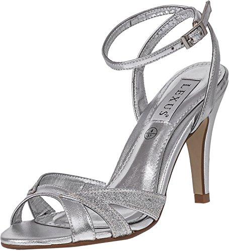 de honor en con y de Silver Zapatos baile Sandalias alto para por tobillo tacón nupcial mujer fiesta el Lexus aguja brillante reluciente de Correa de de Tacón diseño Dama PUq6HUYW