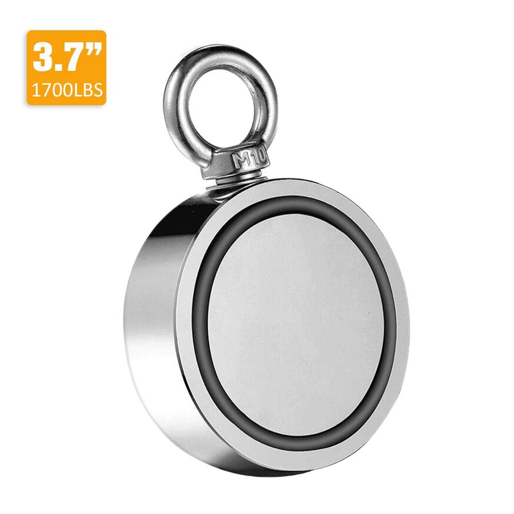 Powerful Fishing Magnets Double-Sided Magnetic Ring Round Magnetic Hook for Magnet Fishing in River, Lake or Ocean for Treasure Hunting, Super Strong Power Diameter 2.36'' Up to 600 LBS Lifting Power