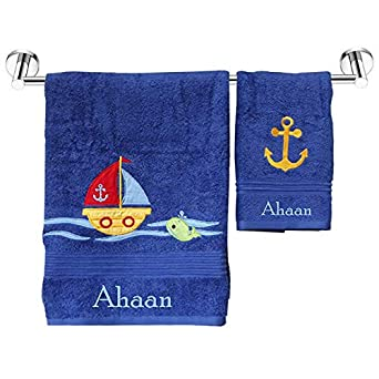 Personalized Towels Nauticals Kids Bath Towel Plus Hand Napkin