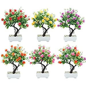 helegeSONG Fake Flowers Silk Plastic Artificial Plant 1Pc Potted Artificial Flower Tree Bonsai DIY Stage Garden Wedding Party Decor for Home,Office,Wedding,Garden, Gift, Desk, Hotel - Rose Red 4