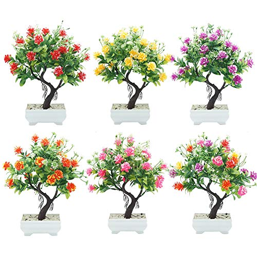 helegeSONG-Fake-Flowers-Silk-Plastic-Artificial-Plant-1Pc-Potted-Artificial-Flower-Tree-Bonsai-DIY-Stage-Garden-Wedding-Party-Decor-for-HomeOfficeWeddingGarden-Gift-Desk-Hotel-Rose-Red
