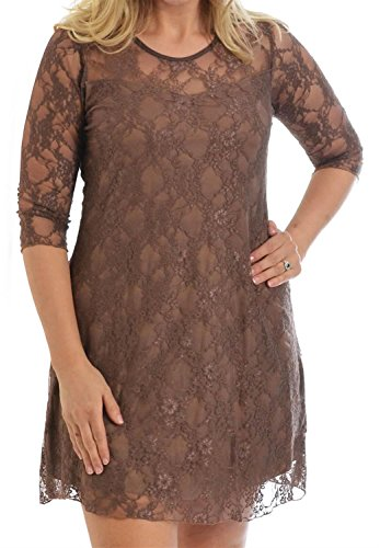 Dress 24 10 4 Tunic Chocolate Floral Shift Design Lace Mocha Detail Womens 3 Pickle All New Size Plus Sleeve Over OaUxOqT