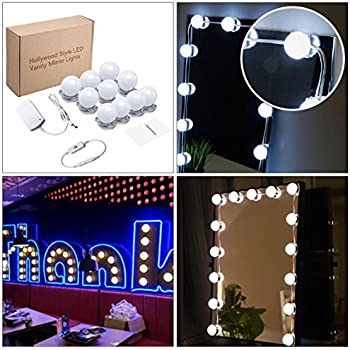 KAZOKU Hollywood Style LED Vanity Mirror Lights Kit 13.5 Foot For Makeup  Dressing Table Vanity Set Mirrors With Dimmer And Power Supply Plug In  Lighting ...