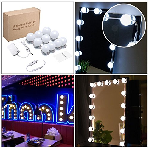 KAZOKU Hollywood Style LED Vanity Mirror Lights Kit 13.5 Foot for Makeup Dressing Table Vanity Set Mirrors with Dimmer and Power Supply Plug in Lighting Fixture Strip(Mirror Not Included)