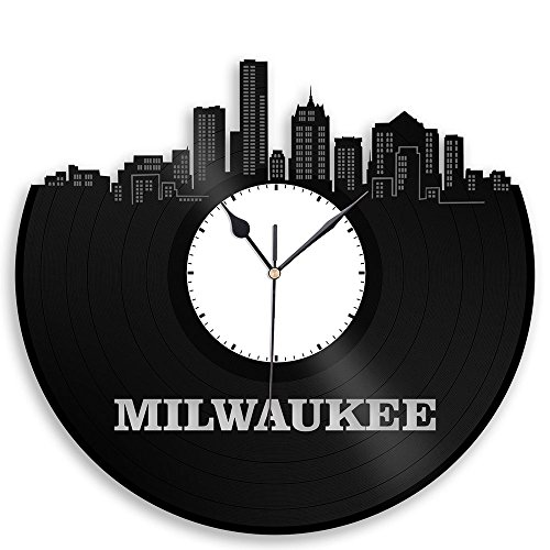 VinylShopUS – Milwaukee Vinyl Wall Clock City Skyline Vintage Room Decor