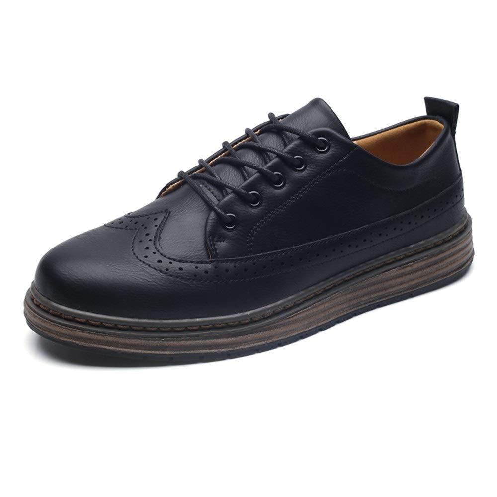 Hilotu Men's Business Wingtip Oxfords Lace Up Leather Breathable Flat Shoes Classic Outdoor Walking Shoes (Color : Black, Size : 7.5 M US) by Hilotu