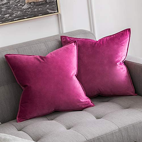 MIULEE Pack of 2 Decorative Velvet Throw Pillow Cover Soft Rose Red Pillow Cover Soild Square Cushion Case for Sofa Bedroom Car 18x 18 Inch 45x 45cm (Magenta Pillows Throw)