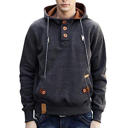LETSQK Men's Long Sleeves EcoSmart Button-up Fleece Pullover Hoodie Sweatshirt Grey - Size Caliber Chart