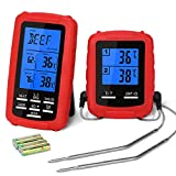 Wireless Meat Thermometer YISSVIC BBQ Thermometer with Dual Probes Timer Temperature Alarm Large