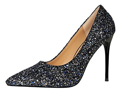 Sequins Wedding Pumps High 34 Pointed US M Blue Women Shoes Heel Party Pumps Toe Womens B 3 Cloudless tx1w0Xq