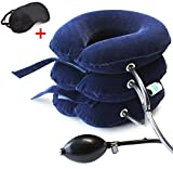 Neck Traction Device No1 Doctors Recommended CHISOFT Cervical Neck Stretcher + Eye Mask, Corrects Posture, Helps Neck Pain