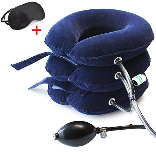 Neck Traction Device No1 Doctors Recommended CHISOFT Cervical Neck Stretcher + Eye Mask, Corrects Posture, Helps Neck (Saunders Cervical Traction Device)