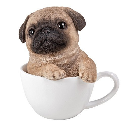 Pacific Giftware Adorable Teacup Pet Pals Puppy Collectible Figurine 5.75 Inches (Pug)