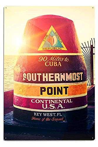 Lilyanaen New Great Key West Florida 90 Miles to Cuba Sign Aluminum Wall Sign Wall Decor Ready to Hang for Outdoor & Indoor 12 x 18 in