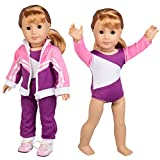 "Doll Clothes for American Girl Dolls: 4 Piece Gymnastics Star Outfit - ""Dress Along Dolly"" (Includes Performance Leotard, Warmup Pants, Pullover, and Sneakers)"