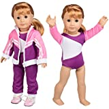 Gymnastics Outfit for American Girl Dolls: 4 Piece Doll Outfit (Includes Performance Leotard, Warm-up Pants, Pullover, and Sneakers)