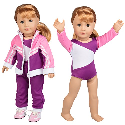 (Gymnastics Outfit for American Girl Dolls: 4 Piece Doll Outfit (Includes Performance Leotard, Warmup Pants, Pullover, and Sneakers))