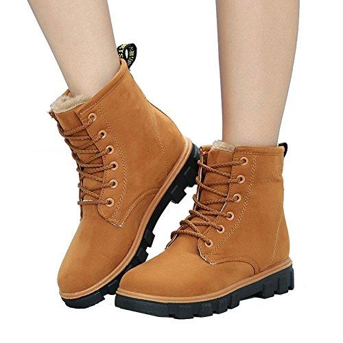 donne breve caviglia comfort 38 scarpe lacci neve pelle stivali piatto calda casual BROWN 39 invernale cotone tacco 5r5pxdqwz