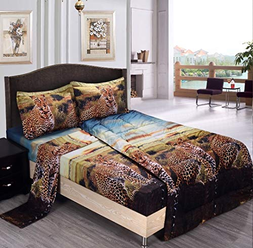 Maii Homelinens Comfy 3D Print Jungle Leopard Goose Down Alternative Comforter Microfiber Wrinkle,Fade Resistant Egyptian Cotton Quality Ultra Soft All year Round Bedding Queen (Print Set Comforter Animal)