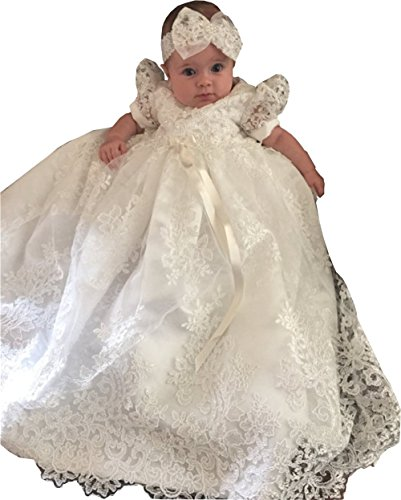 Newdeve Baby-girls Lace Beads Infant Toddler White Christening Gowns Long (0-3 months, White)