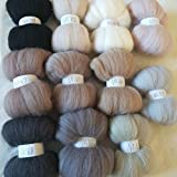 Maslin 11 Colors Wool Fibre Roving Sewing for Needle Felting Wool Crafts Set 10g 20g 50g 100g - (Color: 50g 550g)