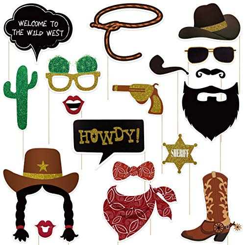 Amosfun West Cowboy Photo Booth Props Wild Western Cowboy Party Themed Decoration 18pcs -