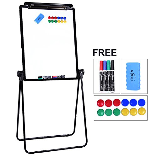 "U-Stand Whiteboard – 24"" x 36"" Double-Sided Easel Stand, 36""-65"" Height Adjustable & 360°Rotating, Aluminum Metal Flipchart Easel with 4 Markers, 1 Eraser & 12 Magnets for Office, Posters & Painting"