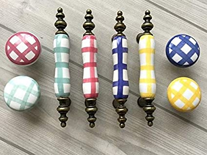 """3/"""" Red Yellow Green Blue Dresser Pull Drawer Knob Cabinet Handles Gingham 76 mm"""