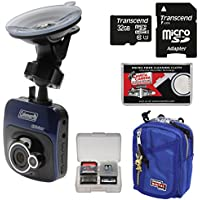 Coleman TourHD CDV100 Car Dashboard HD Video Recorder Camera with 32GB Card + Case + Kit