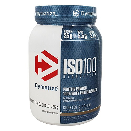 Dymatize Nutrition - ISO 100 100% Hydrolyzed Whey Protein Isolate Powder Cookies & Cream - 1.6 lbs.